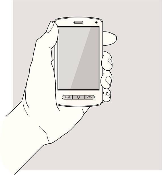 руки, держа смарт-телефон - hand holding phone stock illustrations