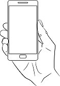 hand holding a smart phone vertically on white background of monochrome vector illustrations