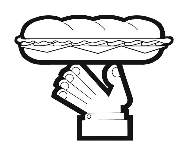 hand holding a submarine sandwich - sub sandwich stock illustrations, clip art, cartoons, & icons