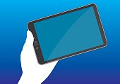 A hand holds a tablet pc with a blank display. Wireless and mobile communication technology. Vector illustration