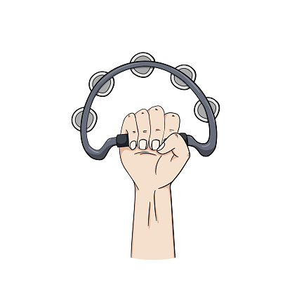 hand holding a tambourine instrument