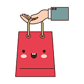 hand holding a trapezoid kawaii shopping bag in colorful silhouette vector illustration