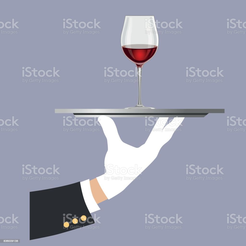 Hand holding a tray with a glass of wine vector art illustration