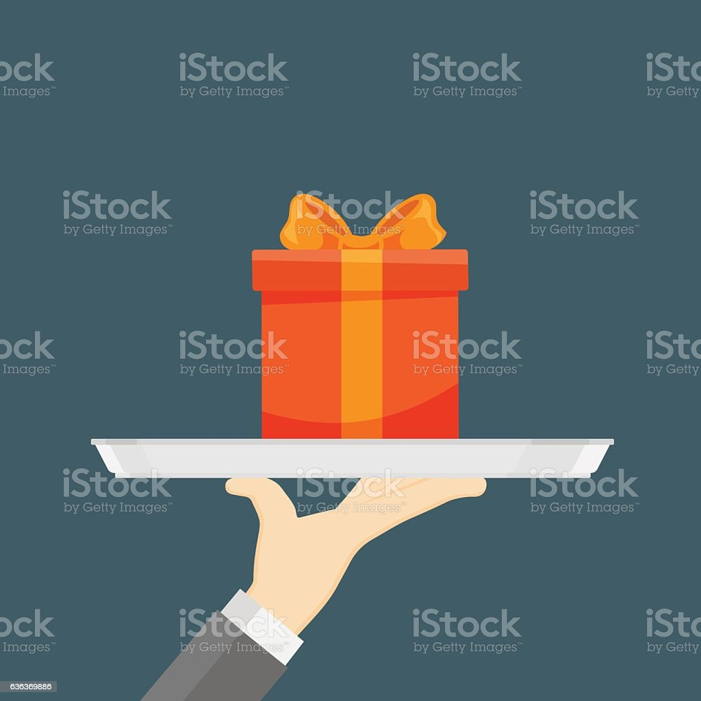 Hand Holding A Tray With Gift box vector art illustration