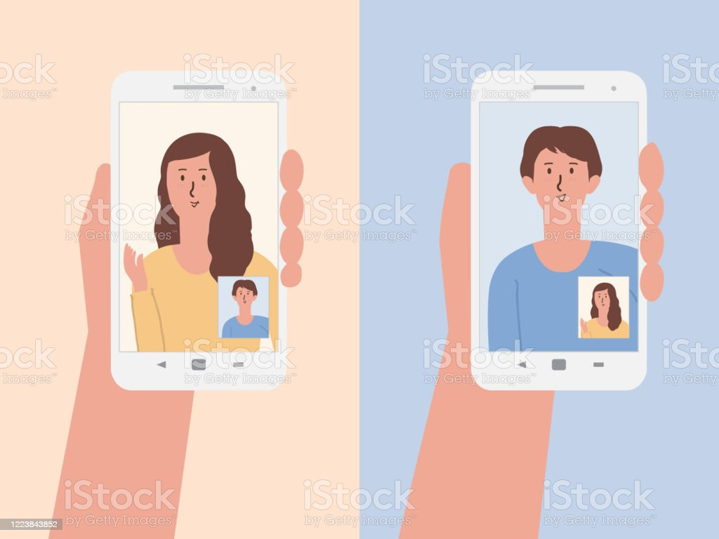 Hand Holding A White Smartphone To Using Video Calls With Friends