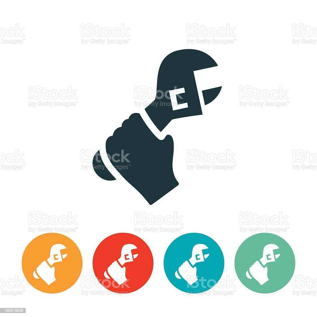 Hand Holding a Wrench Icon vector art illustration
