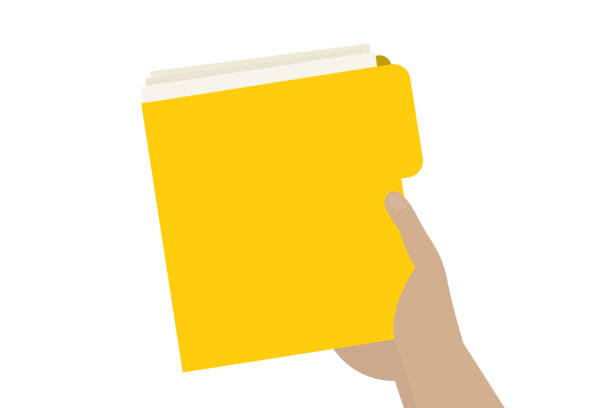 hand holding a yellow document folde - post it notes stock illustrations