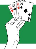 Vector line art of a hand holding four aces.