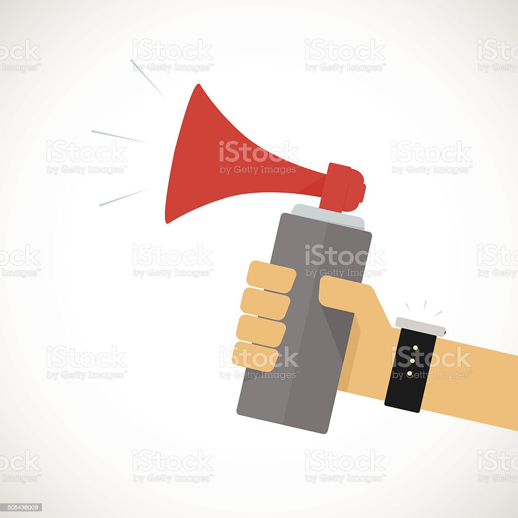 Hand Holding Air horn vector art illustration