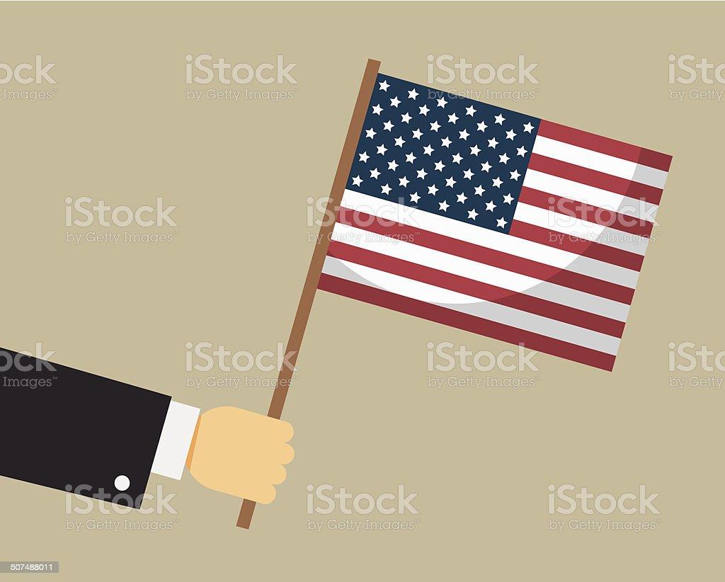 Hand holding American flag. Vector. vector art illustration