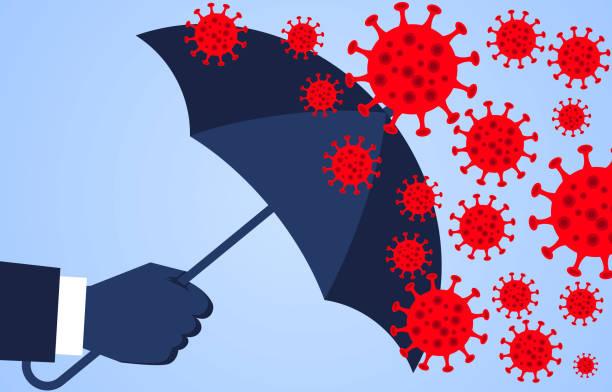 illustrazioni stock, clip art, cartoni animati e icone di tendenza di mano che tiene un ombrello contro la nuova polmonite da coronavirus 2019, virus globale della peste - protezione
