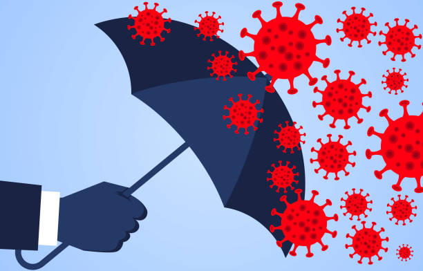 ilustrações de stock, clip art, desenhos animados e ícones de hand holding an umbrella against the 2019 novel coronavirus pneumonia, global plague virus - covid 19