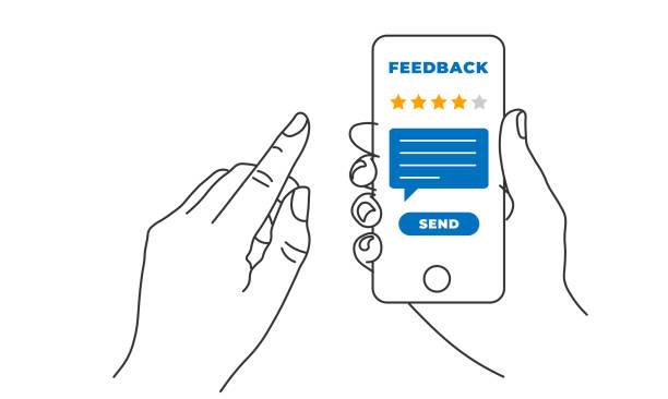 hand halten und auf smartphone-handy mit fünf sternen auf dem bildschirm und senden nachricht. feedback, rating und rezensionskonzept. linienvektorabbildung - feedback stock-grafiken, -clipart, -cartoons und -symbole