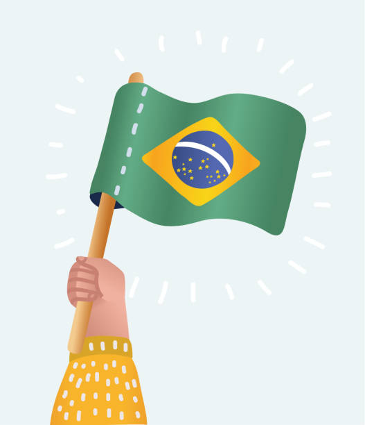 ilustrações, clipart, desenhos animados e ícones de mãos dadas e erguendo a bandeira nacional do brasil - brazil