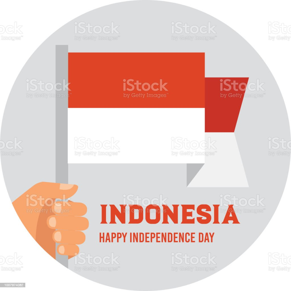 Hand holding and raising the national flag of Indonesia. poster for celebrate the national day of Indonesia. Indonesia Happy Independence Day greeting card . vector illustration vector art illustration