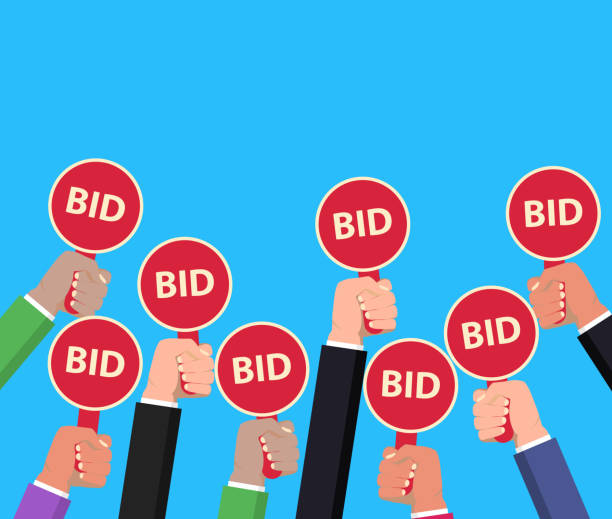 Hand holding auction paddle. Bidding concept. Auction competition. vector vector art illustration