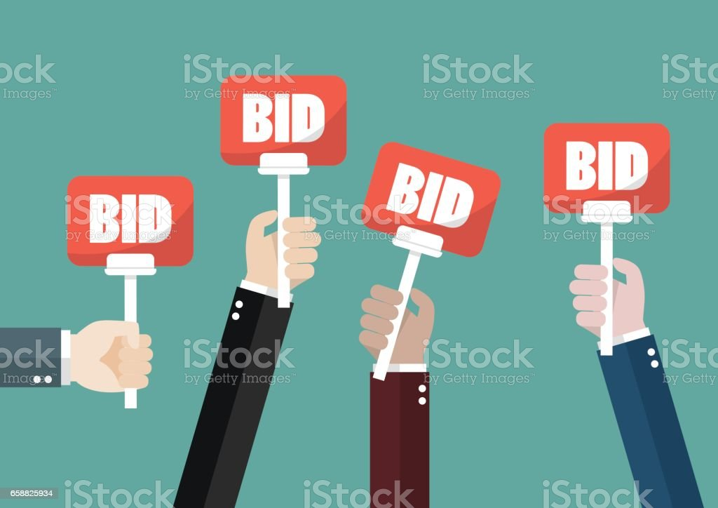 Hand holding auction paddle vector art illustration
