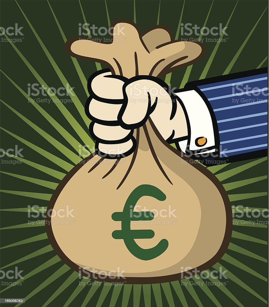 Hand Holding Bag of Euros royalty-free hand holding bag of euros stock vector art & more images of award