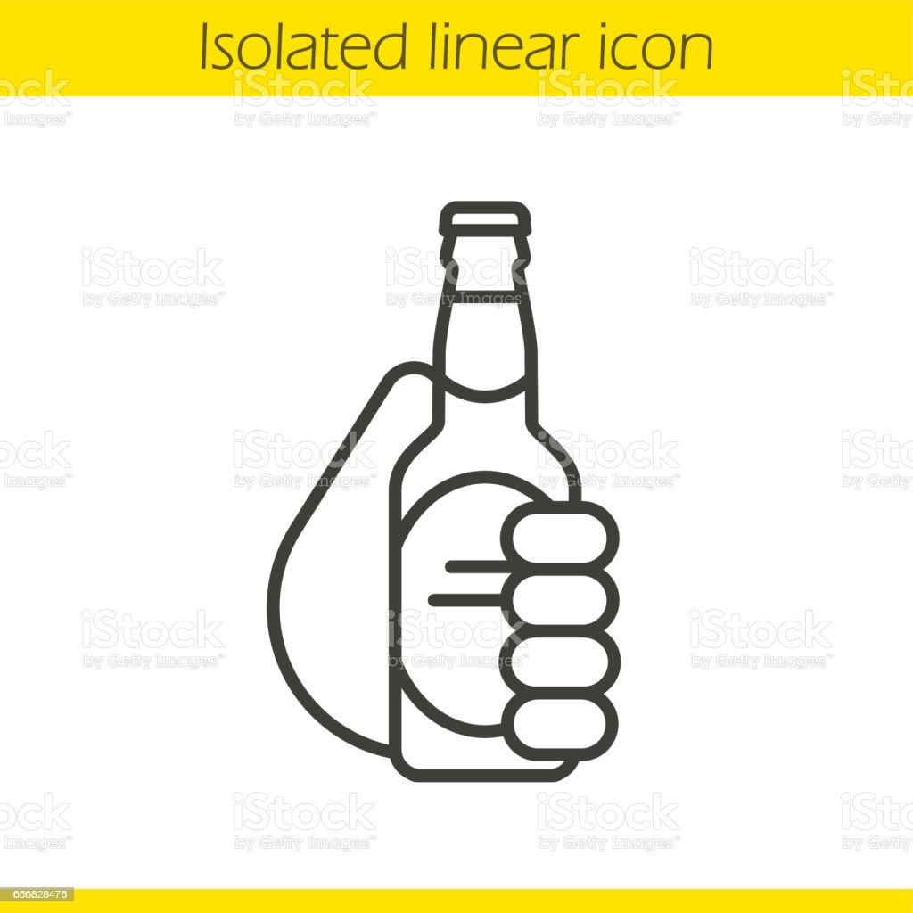 Hand holding beer bottle icon vector art illustration
