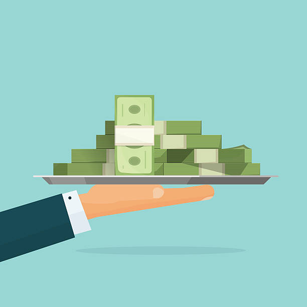 Hand holding big pile of money cash vector, loan salary Business man hand holding tray with big pile of money vector symbol illustration, bank loan cash giving, credit packet, hypothec, mortgage, salary payment, modern design isolated, flat style emblem millionnaire stock illustrations