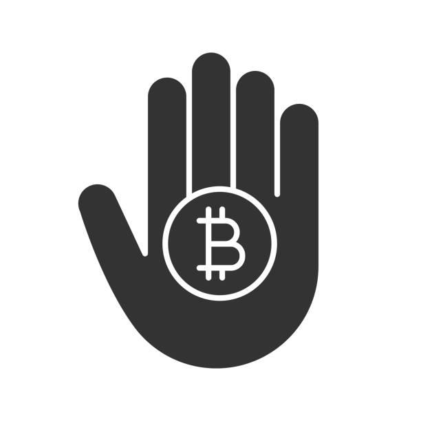 stockillustraties, clipart, cartoons en iconen met hand met bitcoin glyph pictogram - thaise munt