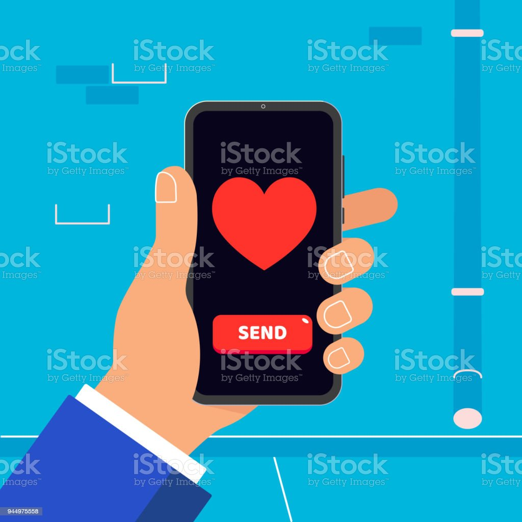 Hand Holding Black Mobile Phone With Heart And Button Send Symbol