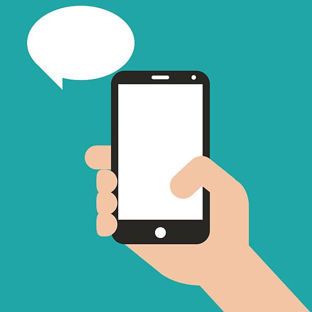 ręka trzymająca czarnym smartphone, dotykać pusty ekran - ręka człowieka stock illustrations