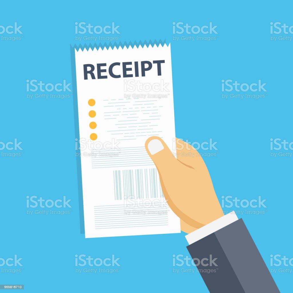 Hand Halten Leere Eingang Rechnung Vorlage Oder Restaurant Papier
