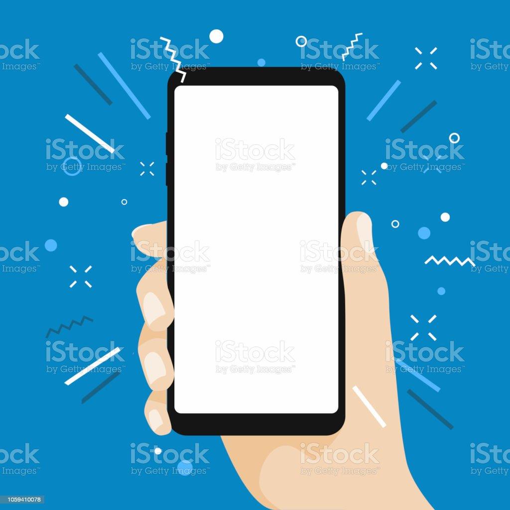 Hand som håller tom skärm smart telefon platt design på blå bakgrund. - Royaltyfri Annons vektorgrafik