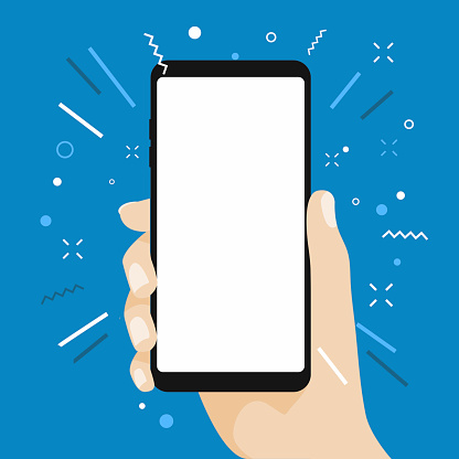 Hand Som Håller Tom Skärm Smart Telefon Platt Design På Blå Bakgrund-vektorgrafik och fler bilder på Annons
