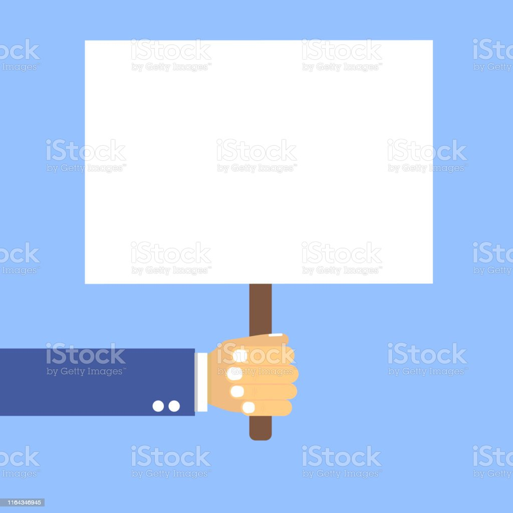 Hand Holding Blank Signboard Flat Style Blue Background Stock ...