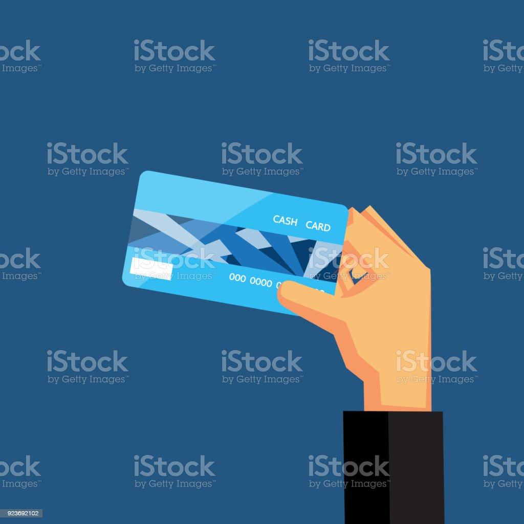 Hand holding blue credit card vector design for business finance. vector art illustration