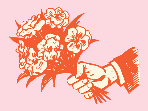 Hand Holding Bouquet of Flowers