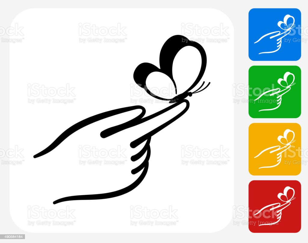 hand holding butterfly icon flat graphic design stock vector art