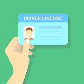 Hand holding car driving licence, id card illustration