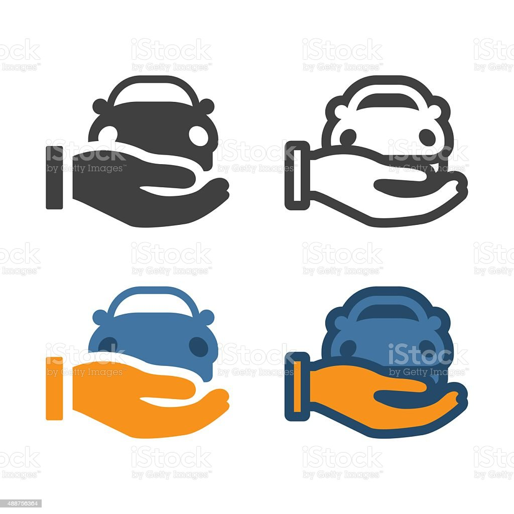Hand Holding Car Icon vector art illustration