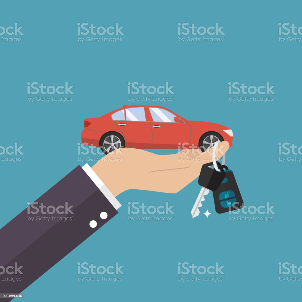 Hand holding car in palm and key on finger - illustrazione arte vettoriale