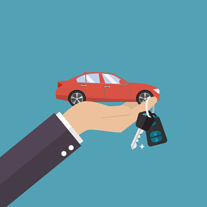 Hand Holding Car In Palm And Key On Finger Stock Illustration - Download Image Now