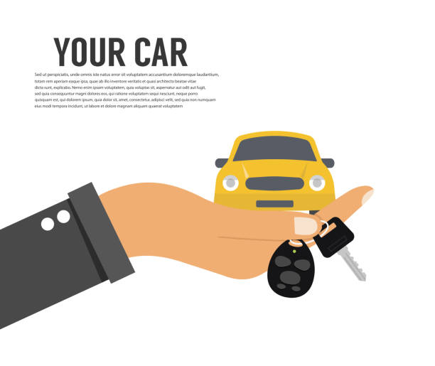 Hand holding car key or home key Hand holding car key or home key lease agreement stock illustrations
