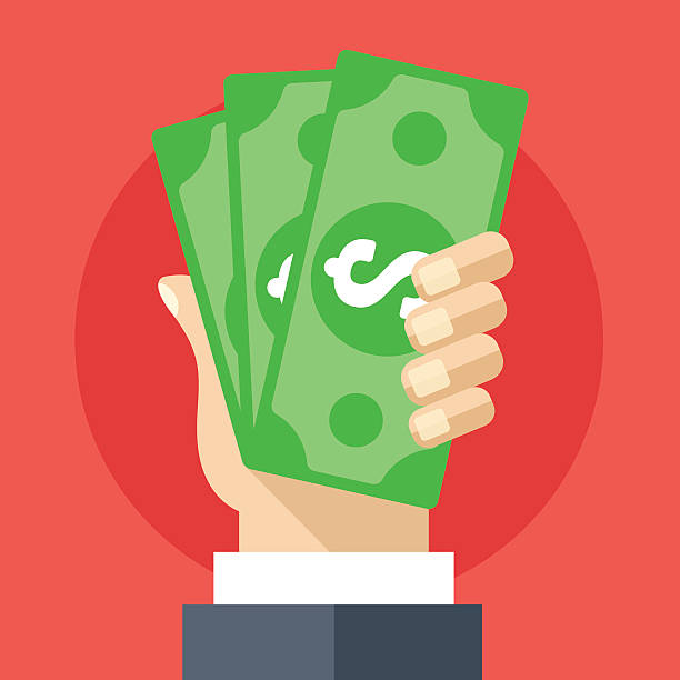 Hand holding cash flat illustration. Investment, marketing, withdrawal concepts Hand holding cash flat illustration. Investment, marketing, withdrawal concepts. Creative flat design elements for web sites, printed materials, web banners, infographics. Modern vector illustration us paper currency stock illustrations