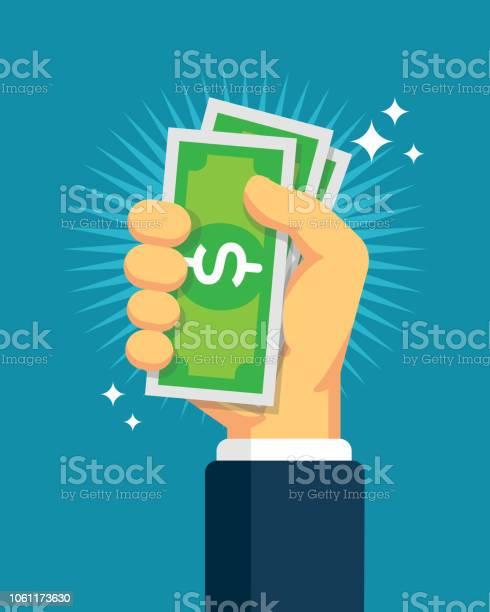Hand Holding Cash Stock Illustration - Download Image Now