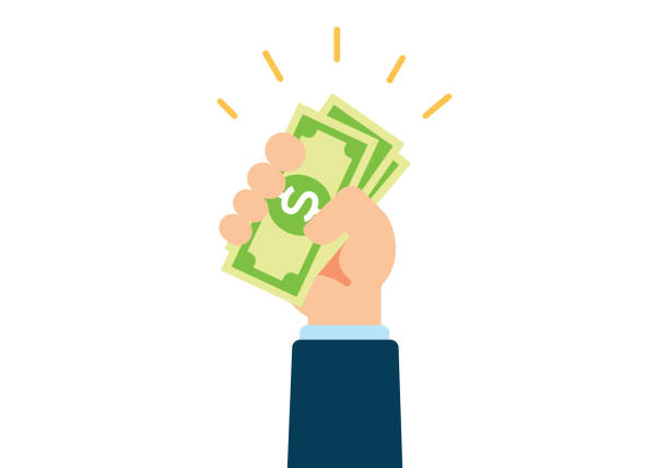 hand holding cash - banknot stock illustrations