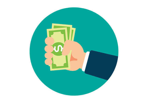 Hand Holding Cash vector art illustration