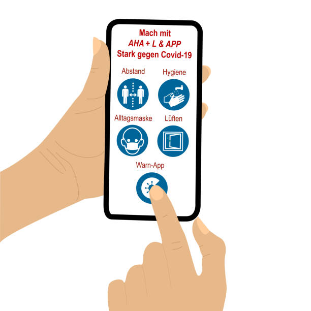 handhalten handy mit aha + l & app regel. der finger eines sekundenzeigers drückt auf ein symbol - lüften stock-grafiken, -clipart, -cartoons und -symbole
