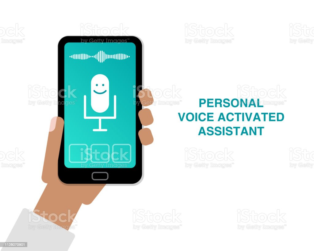 Hand Holding Cell Phone With App Of Personal Voice Activated