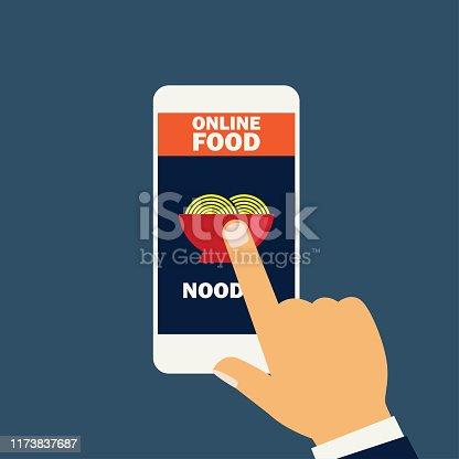 Hand holding cellphone for online shopping food stock illustration