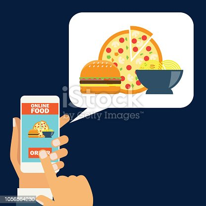 hand holding cellphone for online shopping food. vector illustration