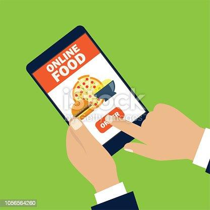 hand holding cellphone for online shopping food. vector illustration