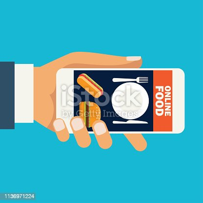 Hand holding cellphone for online shopping food, vector illustration