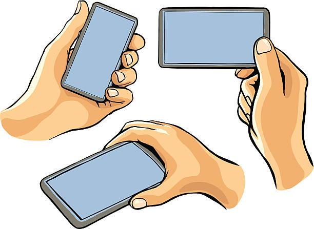hand holding cellular phone vector art illustration